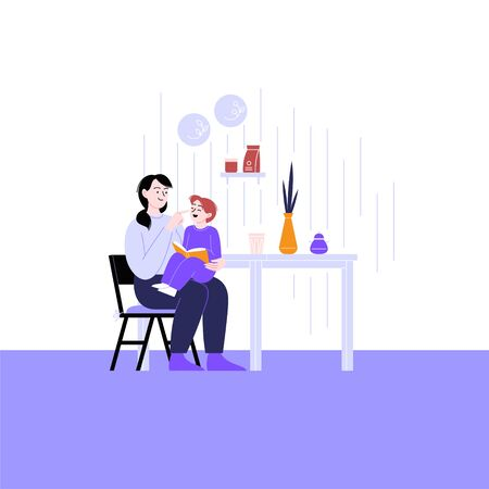 Flat illustration of a mother spending time with her child reading book at home. Staying home concept