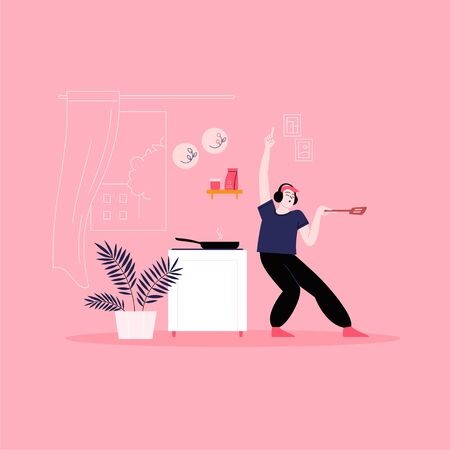 Flat illustration of a man whearing earphones dancing at the kitchen while cooking