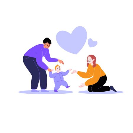Flat illustration of a queer family. Lesbian couple teaching a toddler to walk. Hearts on the background. Pride month concept 向量圖像