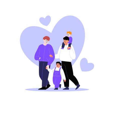 Flat illustration of a queer family. Gay couple walking with kids. Hearts on the background. Pride month concept