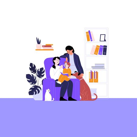 Flat illustration of a queer family with kid and pets. Two mothers spending time with their child reading book at home. Pride month concept 向量圖像