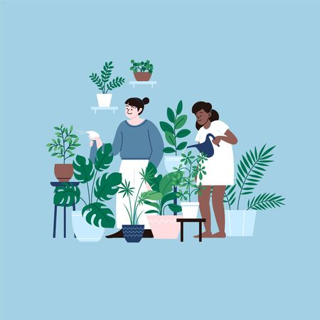 Two girls staying home watering houseplants. A room full of plants. Illustration