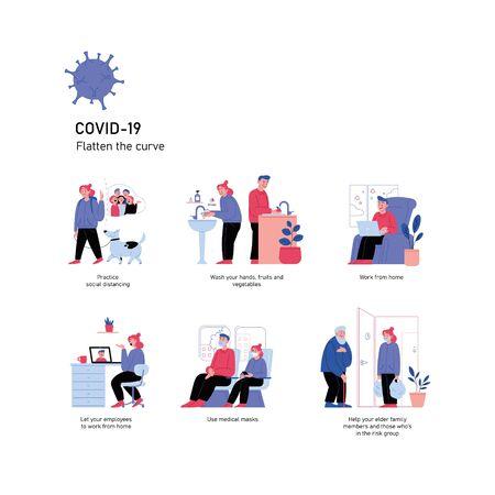 Illustrations set. Quarantine and covid-19 prevention.