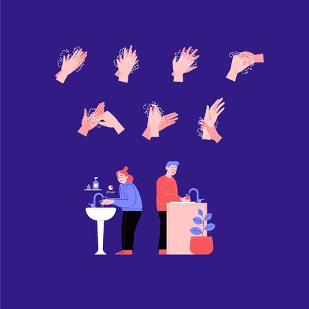 Illustrated step by step instruction how to wash your hands properly. Covid-19 hands hygene instruction. A man and a woman washing hands