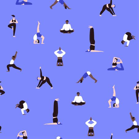 Seamless pattern of diversed people of different ethnicity practicing yoga