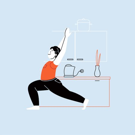 Flat and line character illustration of a person practicing yoga with a home interior on the background