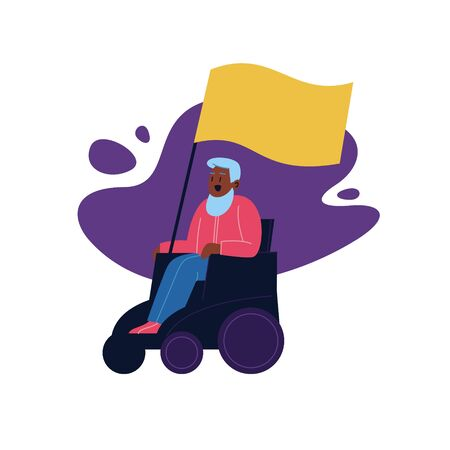 Flat illustration of a disabled man on a wheelchair holding a blank cardboard. Protest march member Archivio Fotografico - 150188038