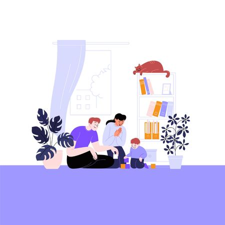 Flat illustration of a family with a kid. Mother and father playing with their child at home. Staying home concept