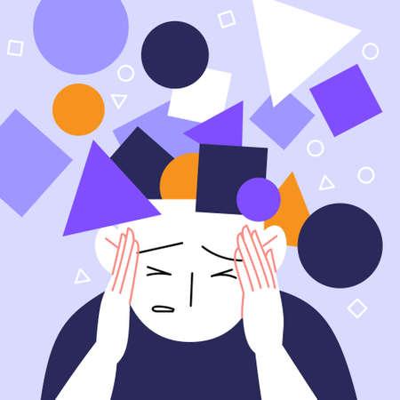 Anxiety attack flat illustration