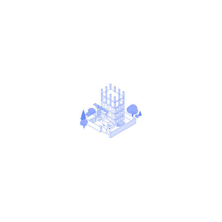 Isometric Construction site with trees truck crane and materials Çizim
