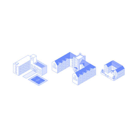 Isometric monochrome line art educational institution buildings collection