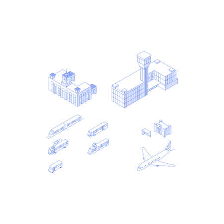 Public transport isometric elements collection