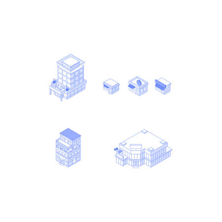 Isometric monochrome line art city buildings collection