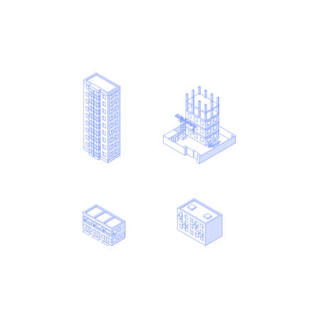 isometric Apartment houses high-rise condo construction site