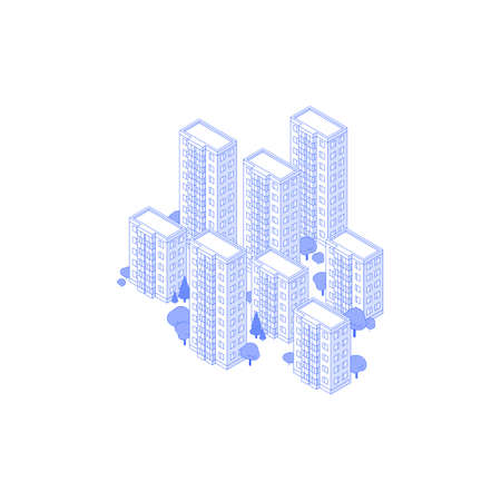 Isometric Monochrome line art isometric high-rise residential area illustration