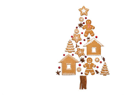 Ginger bread Christmas tree. Copy space, white background. Stock Photo