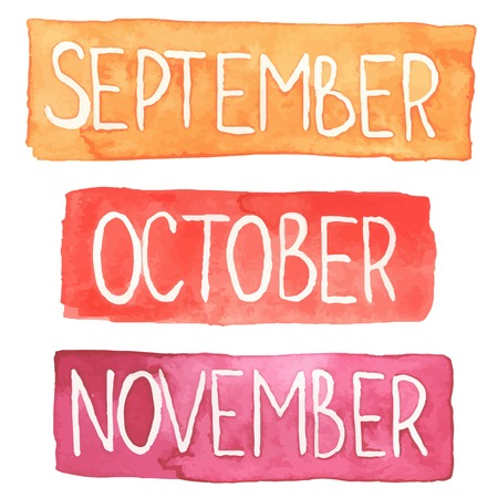 Hand painted watercolor tablets with autumn months: September, October, November.