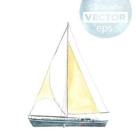 vessel: Watercolor boat with sails made in the vector. Sport yacht, sailboat. Illustration