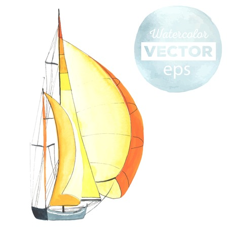 Watercolor boat with sails. Sport yacht, sailboat.