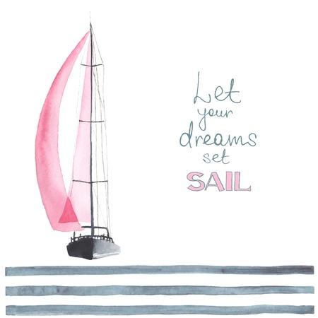 帆と水彩のボート。スポーツ ヨット、ヨット。