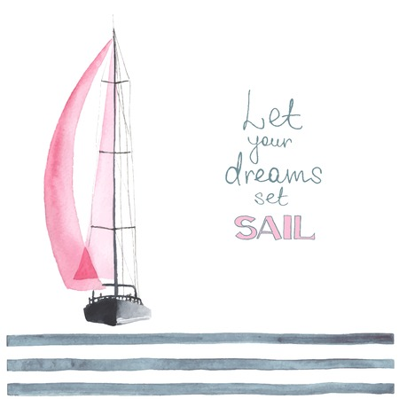 nautical vessel: Watercolor boat with sails. Sport yacht, sailboat.