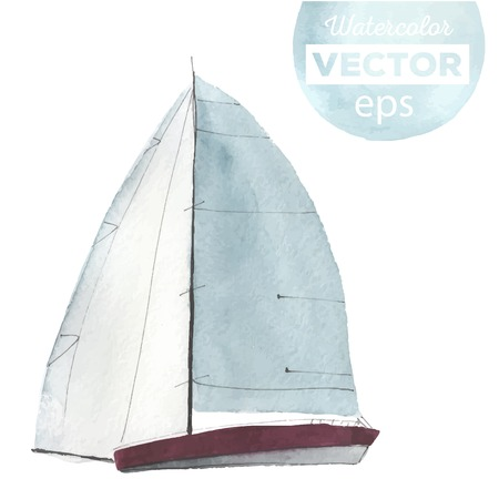 sail: Watercolor boat with sails. Sport yacht, sailboat.