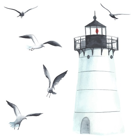 gull: Watercolor lighthouse and seagulls