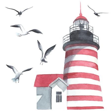 ロマンス: 水彩の灯台とカモメ  イラスト・ベクター素材