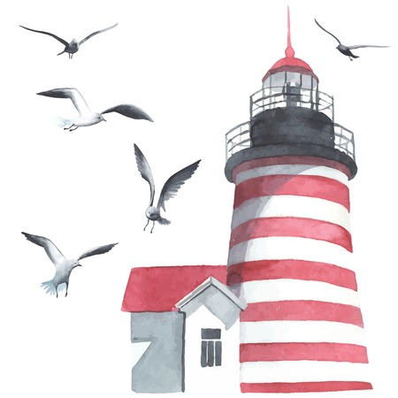 romance: Watercolor lighthouse and seagulls