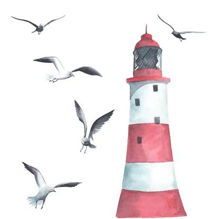 marinero: Faro de la acuarela y gaviotas Vectores