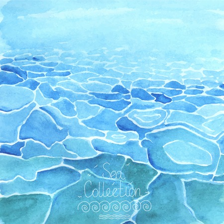 Hand painted  watercolor sea background  Illustration
