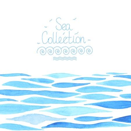 olas de mar: Mano acuarela pintada fondo del mar