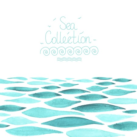 Hand painted watercolor sea background Stock Illustratie