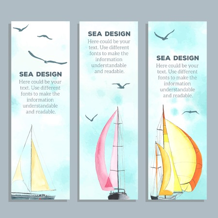 Flyers with watercolor sailboats. Creative cards. Flyers and Banner Designs. Each one is separately. Imagens - 42184844