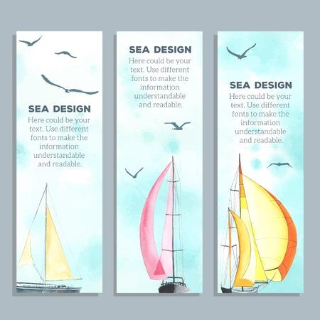 barca da pesca: Volantini con barche a vela acquerello. Carte creative. Volantini, disegni e modelli Banner. Ognuno � parte.