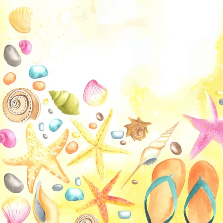 dune: Watercolor shells and starfishes on sand background.  Each one is separately.
