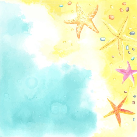 caribbean beach: Watercolor card with Seaside and Starfish. Each one is separately.