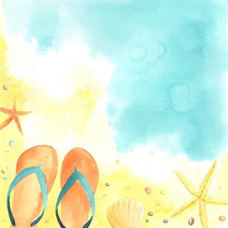 해변, 플립 플롭 및 불가사리와 수채화 카드. 각각은 별도입니다.