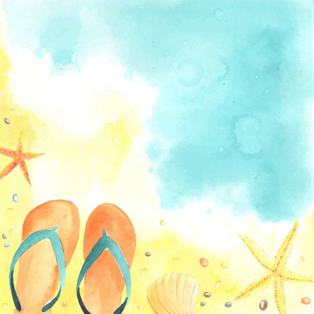 sun beach: Watercolor card with Seaside, flip flops and Starfish. Each one is separately. Illustration