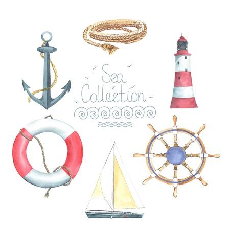 timon barco: Conjunto de elementos náuticos acuarela. Faro, timón, barco de vela, salvavidas, ancla, cuerda. Cada uno es separado.