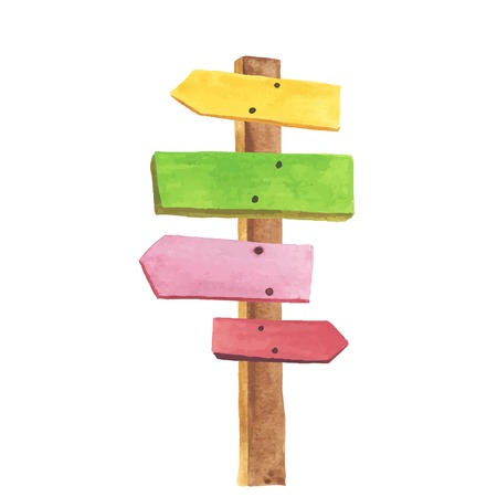 Watercolor wooden signpost. Directions to different places.
