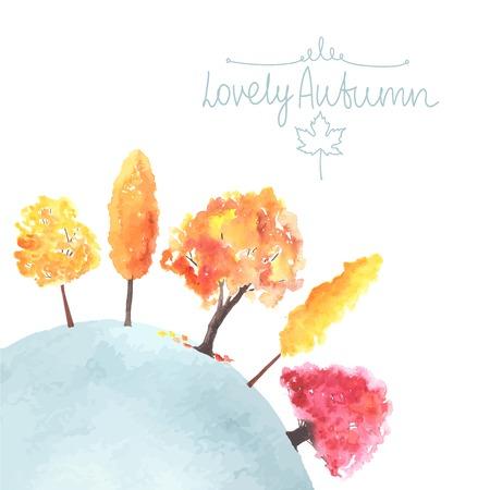 Aquarell Herbstbäume. Herbstfarben. Standard-Bild - 42184969