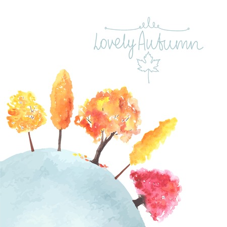 Watercolor autumn trees. Fall colors.