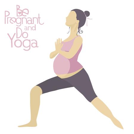sport woman: Pregnant woman doing yoga. Asanas Yoga for pregnant women. Pregnant yoga pose. Illustration