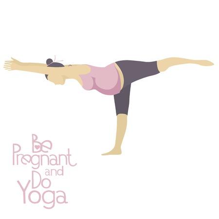 Mujer embarazada que hace yoga. Las asanas de yoga para mujeres embarazadas. Pose de yoga embarazada.