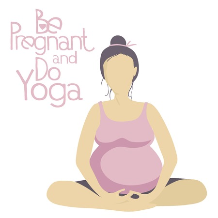 pregnancy yoga: Pregnant woman doing yoga. Asanas Yoga for pregnant women. Pregnant yoga pose. Illustration