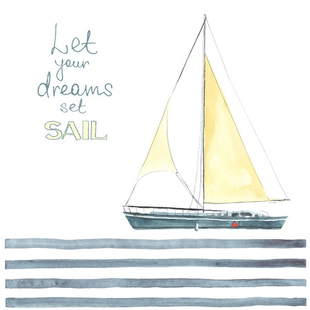 Watercolor boat with sails made in the vector. Sport yacht, sailboat.  イラスト・ベクター素材