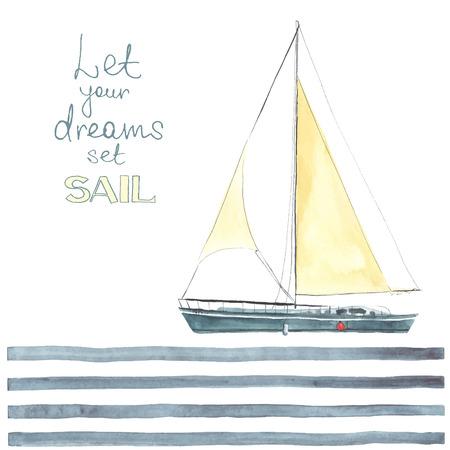 voile: Aquarelle bateau avec des voiles faites dans le vecteur. yacht de sport, voilier.