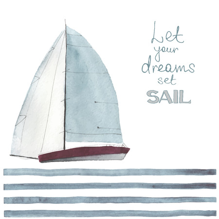 dream lake: Watercolor boat with sails made in the vector. Sport yacht, sailboat. Illustration