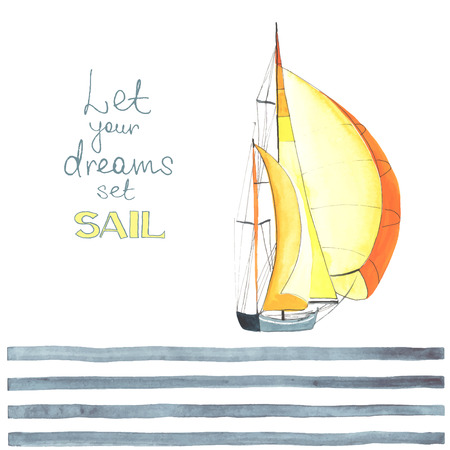 Watercolor boat with sails made in the vector. Sport yacht, sailboat. Stock Illustratie